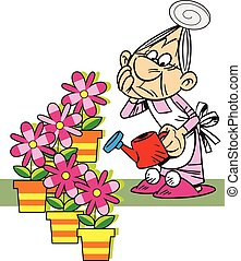 The illustration shows grandmother, who is watering the potted flowers. Illustration done in cartoon style, isolated on white background on separate layers.