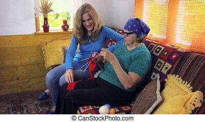 grandma knit woman talk