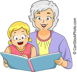 Grandma Reading to Girl - Illustration of a Grandmother...