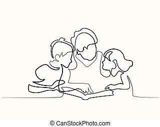 Grandma reading with grandchildren - Continuous one line...