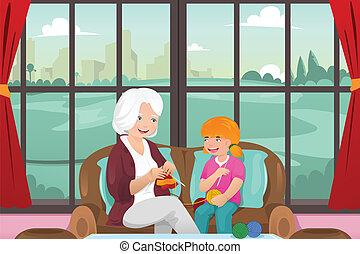 A vector illustration of grandma teaching her granddaughter knitting