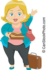 Grandma Visit - Illustration of a Plump Elderly Woman on a...