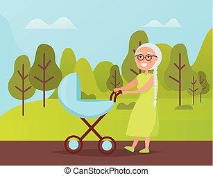 Grandma Walking with Buggy in Green Park Vector