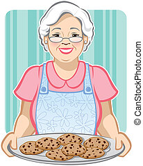 Vector Illustration of a Grandmother with a platter of chocolate chip cookies.