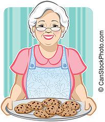 Grandma's Cookies - Vector Illustration of a Grandmother...