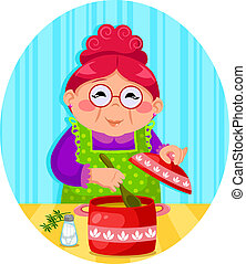 happy woman cooking soup