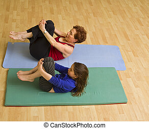 grandmother and child exercising