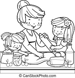 Grandmother and children cooking in the kitchen. Coloring book page