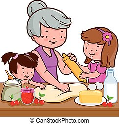 Grandmother cooking in the kitchen with her grandchildren. Vector illustration