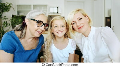 Grandmother and daughters Portrait Indoors