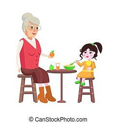 Grandmother and Dining Time Vector Illustration