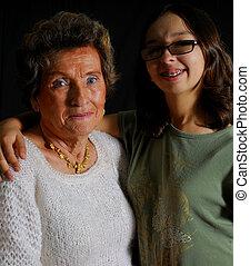 Grandmother and girl