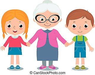 Grandmother and grandchildren - Stock Vector cartoon...