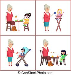 Grandmother and Grandchildren Vector Illustration -...