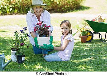 Grandmother and granddaughter engag