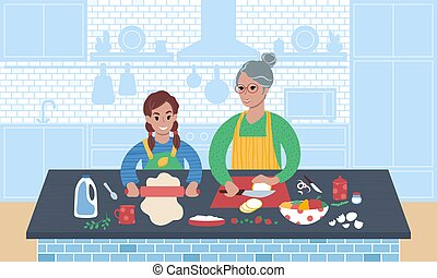 Grandmother and granddaughter preparing meal together. Flat style vector illustration.