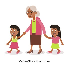 Grandmother and granddaughter twins walking