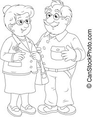 Grandmother and grandfather - Vector illustration of a...
