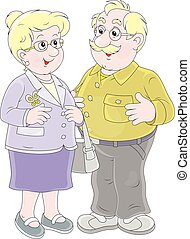 Grandmother and grandfather - Vector illustration of a white...