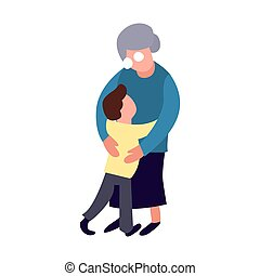 Grandmother and grandson hug. Cartoon flat old women and little boy form. Happy family concept. Senior person lifestyle