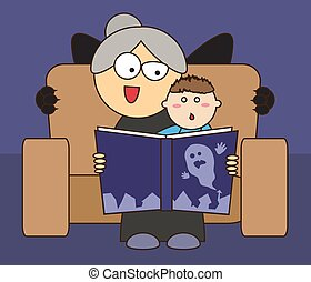 Grandmother and grandson read a terrible story