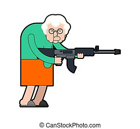 Grandmother and gun. Evil Grandma Gangster with weapon. Angry crime Old lady with machine gun. Vector illustration