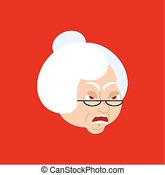 Grandmother angry emoji avatar. Face grandma evil. Vector illustration