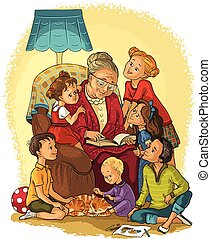 Grandmother, armchair, children - Vector cartoon...