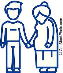 Grandmother care line icon concept. Grandmother care flat vector symbol, sign, outline illustration.