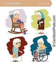 Grandmother cartoon character. Elderly woman in rocking...