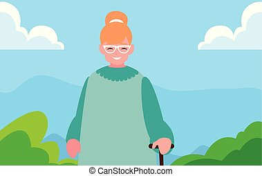 grandmother character family outdoors design