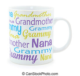 Grandmother coffee mug over white background.