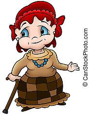 Grandmother - Colored Cartoon Illustration, Vector