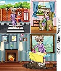 Grandmother doing different activities