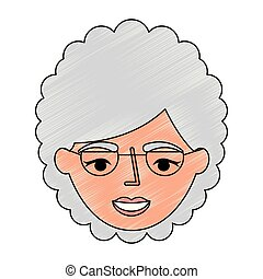 grandmother face with glasses character