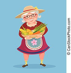 Grandmother farmer hold basket with vegetables. Vector flat...