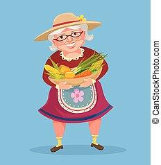 Grandmother farmer hold basket with vegetables. Vector flat...