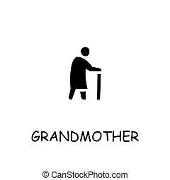 Grandmother flat vector icon