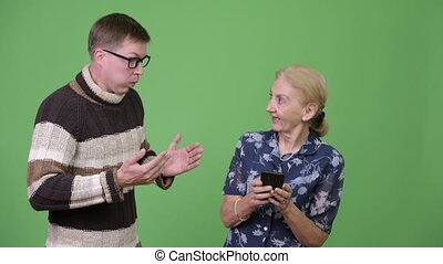 Grandmother getting caught by her grandson using phone -...