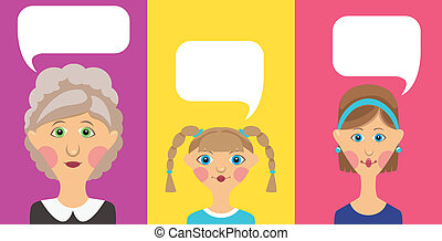 Grandmother, girl and women with bubble