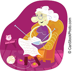 Grandmother - Gradmother sitting in armchair and knitting. ...