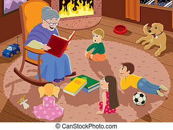 Grandmother - Granny is reading fairy tales to her...