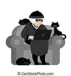 Grandmother hacker sits on an armchair with laptop and cat. grandma is thief programmer. internet Computer security. Old woman and PC