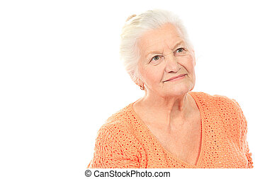 grandmother - Happy senior woman smiling at the camera. ...