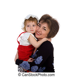 Grandmother hold her small daughter