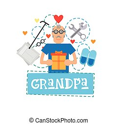 Grandmother Holding Present Box Happy Grandparents Day Greeting Card Banner