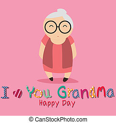 I love you grandma text with abstract grandmother character on pink background