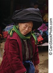 Portrait of a woman Dao black market Sin Ho. North Vietnam near the Chinese border