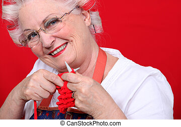 grandmother knitting
