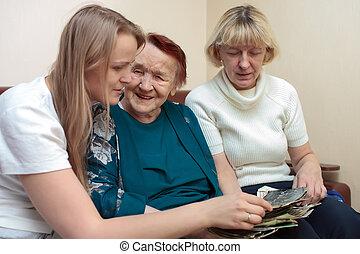 Grandmother, mom and daughter bonding
